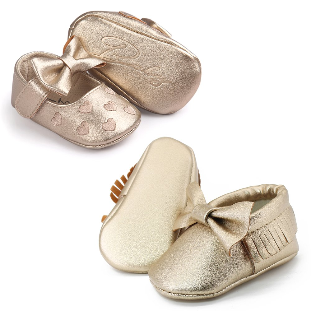 OOSAKU Infant Toddler Baby Soft Sole PU Leather Bowknots Shoes (12-18 Months, Gold+Gold A) by OOSAKU (Image #5)