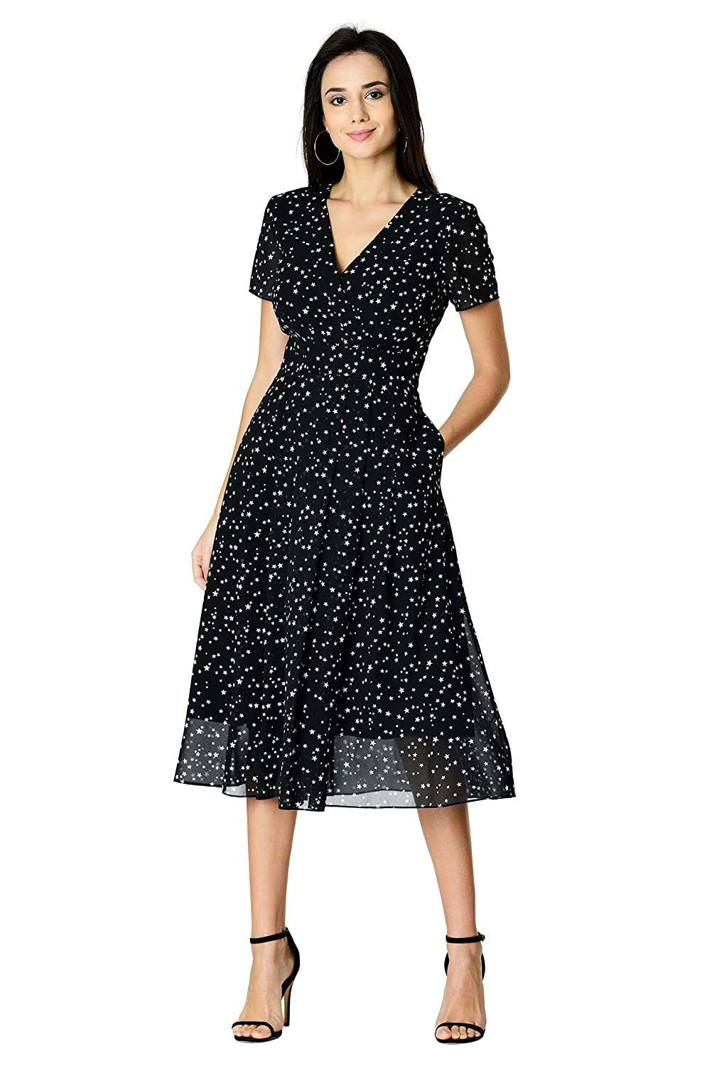 1940s Plus Size Fashion: Style Advice from 1940s to Today eShakti FX Surplice Star Print Georgette Dress $69.95 AT vintagedancer.com