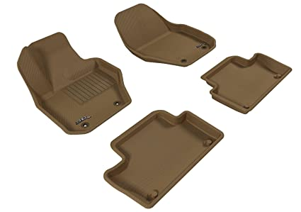 fc654403211 3D MAXpider Complete Set Custom Fit All-Weather Floor Mat for Select Volvo  XC60 Models - Kagu Rubber (Tan)