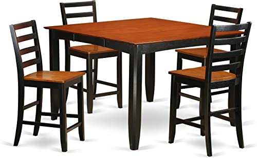 FAIR5-BLK-W 5 PC counter height Dining set- Square Counter height Table and 4 Dining Chairs