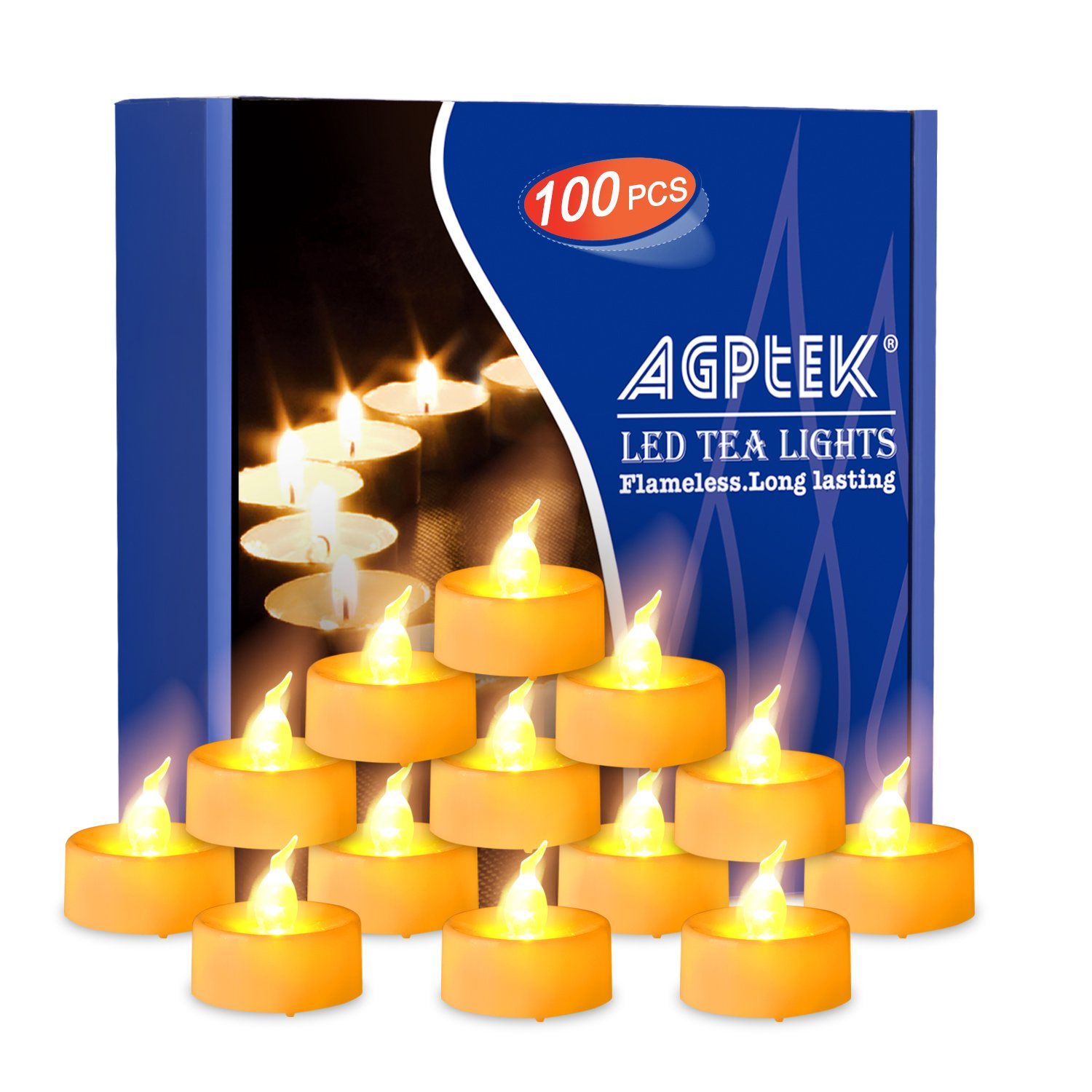 AGPtek 100 Pack Battery Flameless Led Amber Yellow Tea Light Candle Realistic flickering Bulb with Time for Seasonal Festival Celebration, Electric Fake Candle in Amber Yellow and Wave Open
