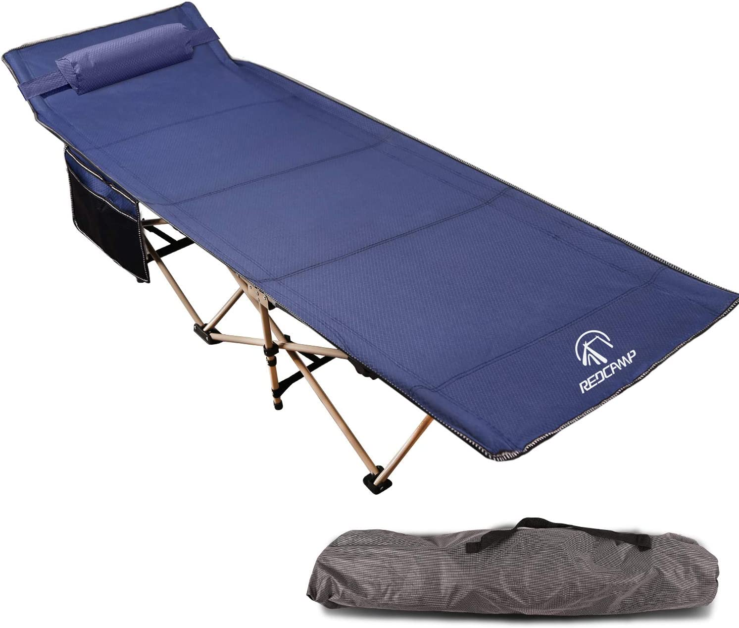 REDCAMP Folding Camping Cot for Adults, Double Layer Oxford Heavy Duty Wide Camp Cot for Sleeping with Pillow and Carry Bag, Blue and Grey