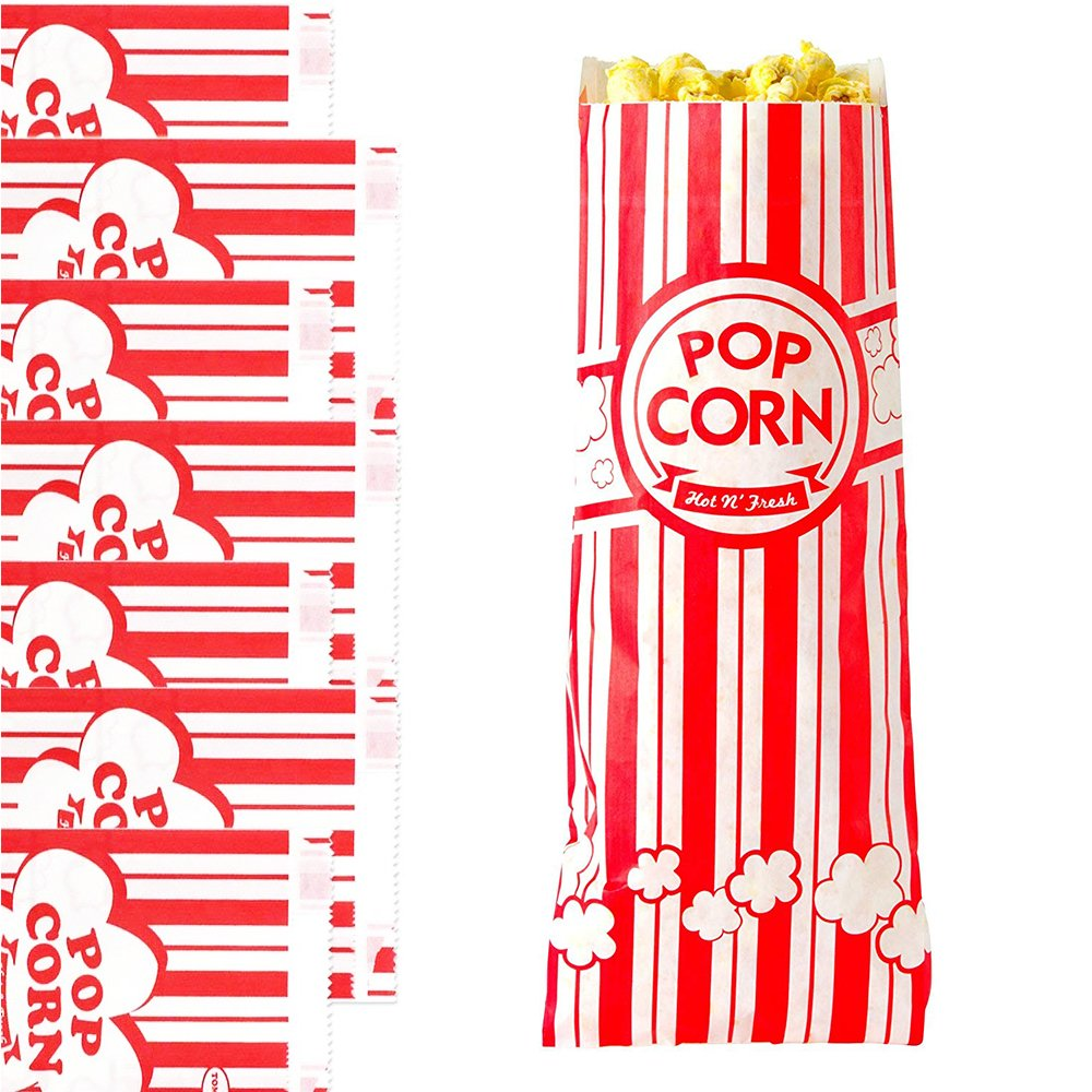 100 Piece Paper Popcorn Bags, 1oz, Great for Movie Party, Carnival Party Circus