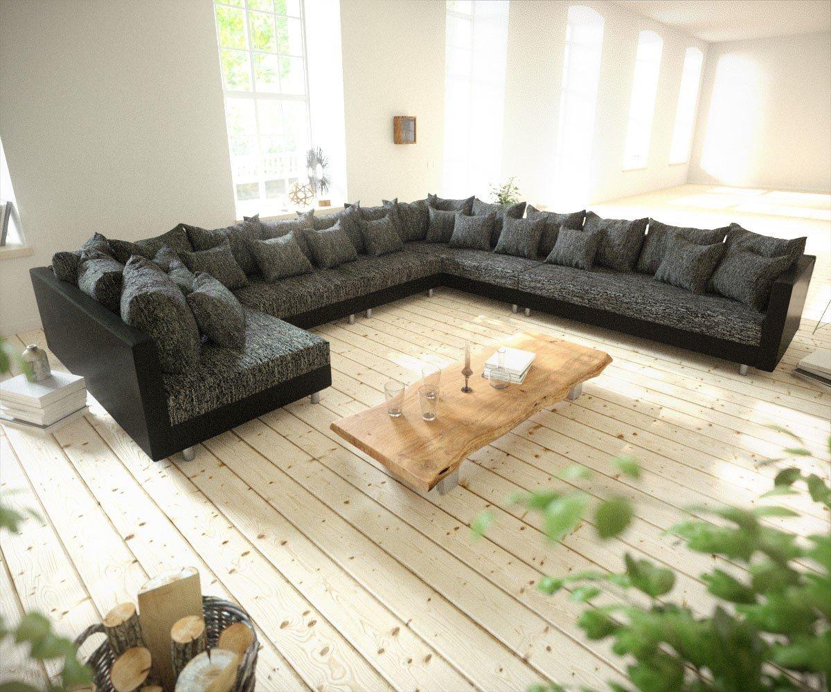 Couch Clovis Xxl Schwarz Ottomane Rechts Wohnlandschaft Modulares