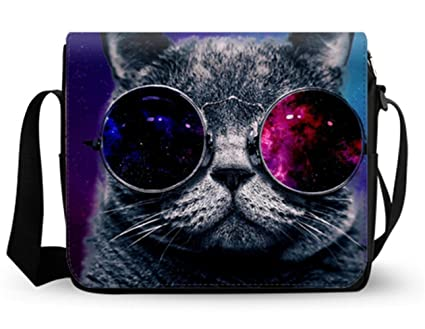 95f2c0886105 Image Unavailable. Image not available for. Color: Galaxy Cat with Glasses  Women's Messenger Bag ...