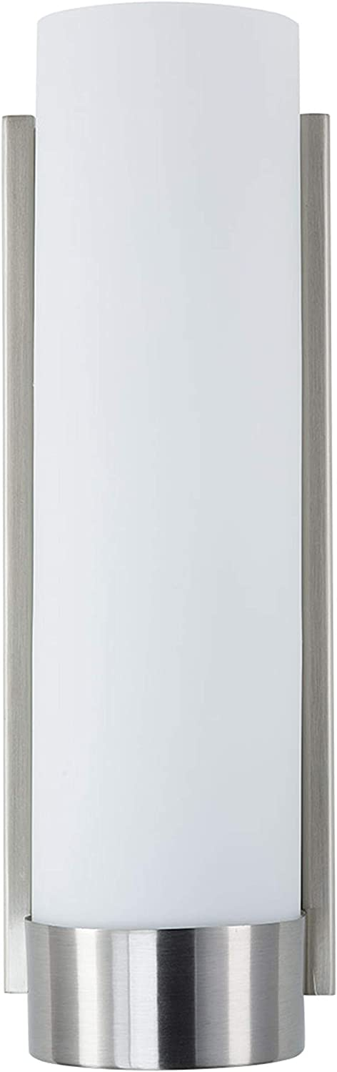 Elina Bathroom Vanity Light Brushed Nickel w Frosted Shade – Linea di Liara LL-WL301-BN