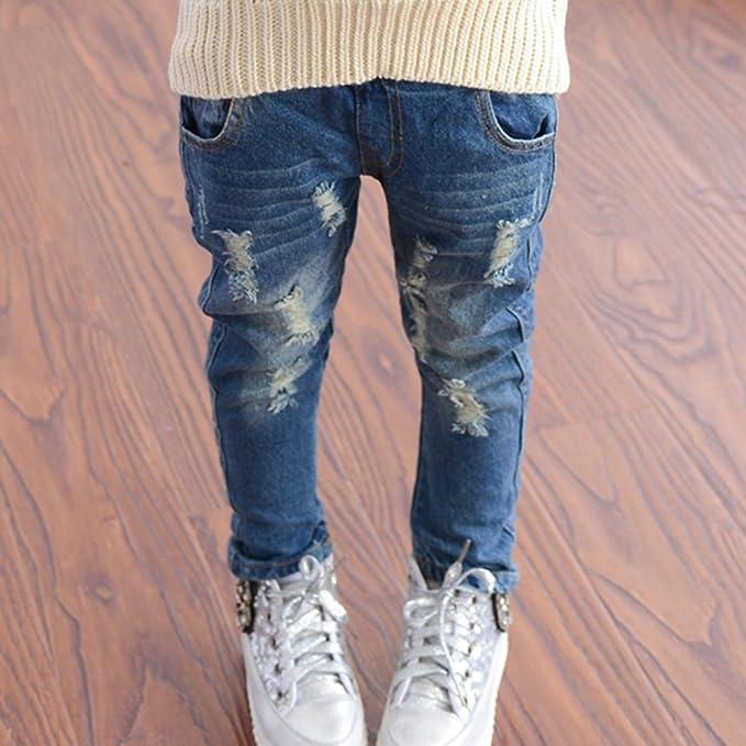 Niñas Vaqueros Rotos - Moda Cintura Media Casuales Denim Pantalones ...