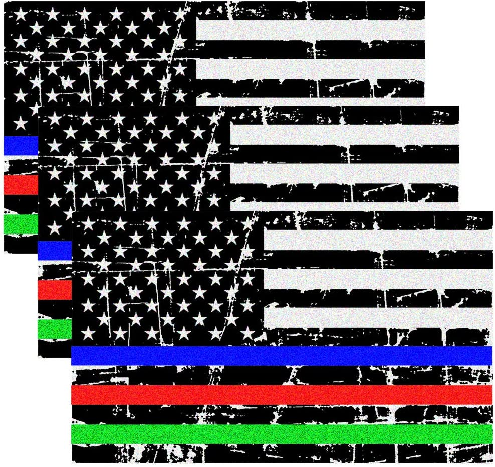 Blue Green and Red Reflective Stripe American Flag Car Stickers Support Police Military and Fire Officers 3 Pack Anley 5 X 3 inch Thin Line US Flag Decal
