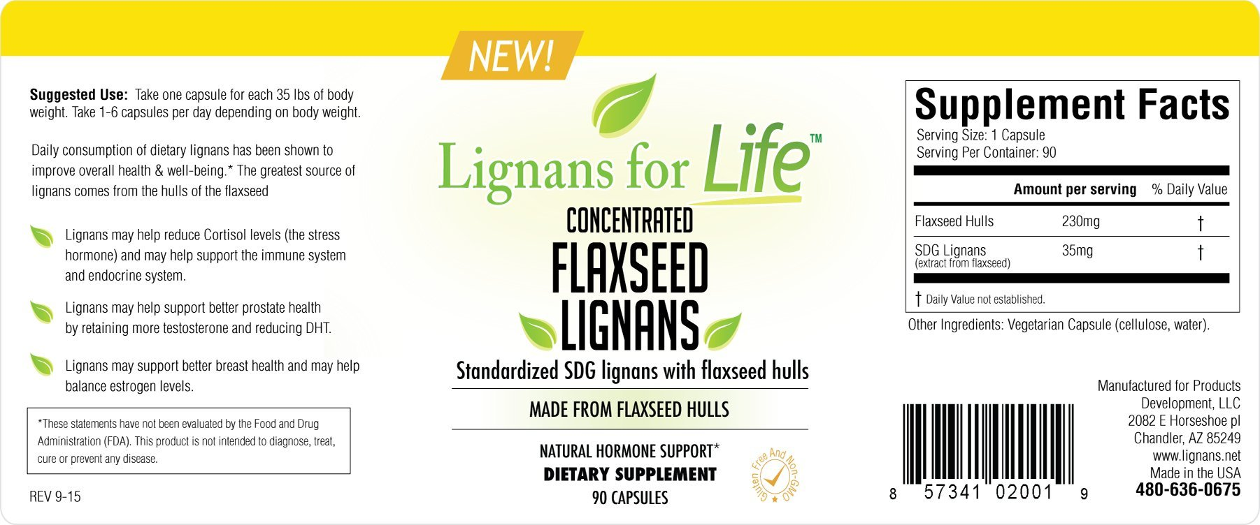 Flaxseed Lignans 35 mg SDG Lignans by Lignans for Life