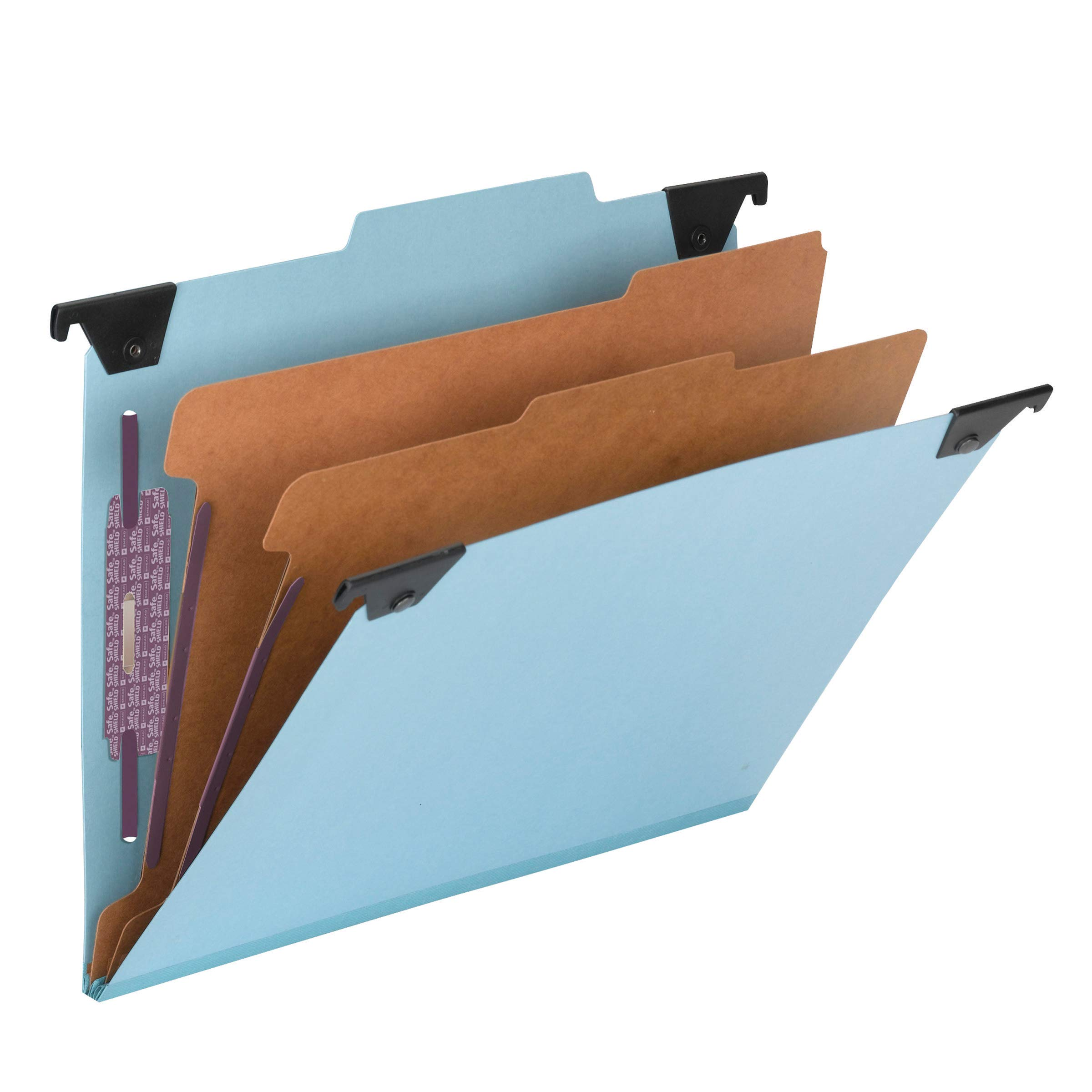 Smead FASTab Hanging Pressboard Classification Folder with SafeSHIELD Fastener, 2 Dividers, 2/5-Cut Built-in Tab, Letter Size, Blue, 10 Per Box (65115) by Smead