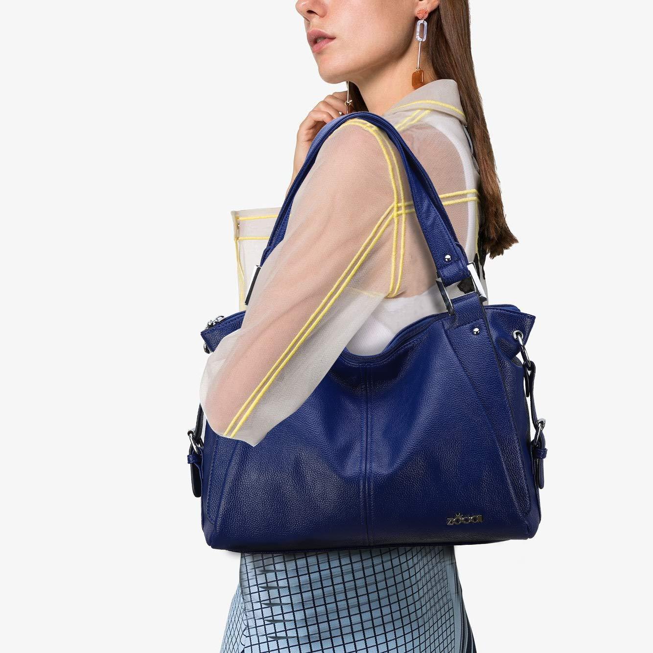 ZOCAI toppfickor PU-läder plånböcker och kvinnor handväskor miljövänlig plånbok dam axelväska Marinblå