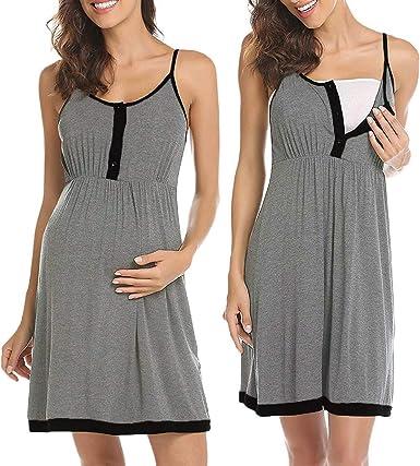 Camisón Premama Lactancia Pijama Embarazada de Vestido Maternidad Verano Ropa de Dormir para Mujer: Amazon.es: Ropa y accesorios