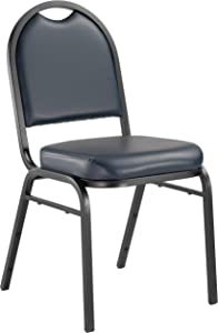 """NPS 9204-BT Vinyl-upholstered Dome Back Stack Chair with Steel Black Sandtex Frame, 300-lb Weight Capacity, 18"""" Length x 20"""" Width x 34"""" Height, Blue"""