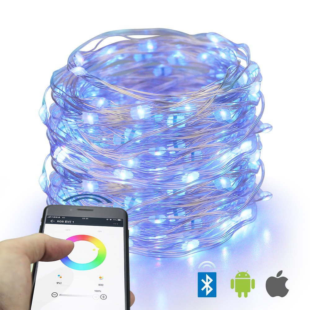 LED String Lights, E-lip 16 Color Changing Sync with Music Bluetooth Smartphone APP Controller Fairy Lights, 32ft 100LEDS Waterproof USB Power Fariy String Lights for Home, Patio, Garden, Party