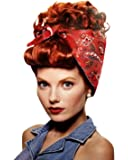 Rosie The Riveter Red Wig with Attached Bandana Curly Updo Adult Costume