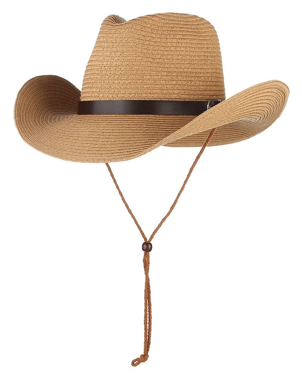Gemvie Cowboy Hat Western Style Fedora Straw Hat Sun Hat with Chin Strap
