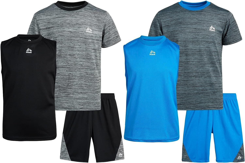RBX Boys' Activewear Set – Short Sleeve T-Shirt, Tank Top,...