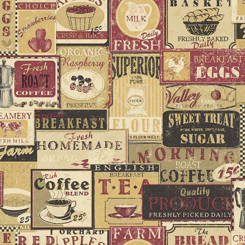 G12297 Kitchen Recipes Tea Coffee Labels Beige Red Galerie Wallpaper Amazon Com