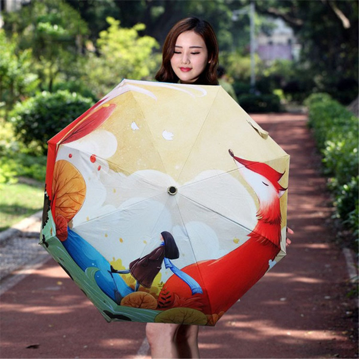 Ruick Artistic Umbrella Light-weighted Folding Umbrella with Anti-UV and Windproof Funtions Suitable for Both Sunny and Raining Days- Available In 5 Patterns (Fox) by Ruick (Image #7)