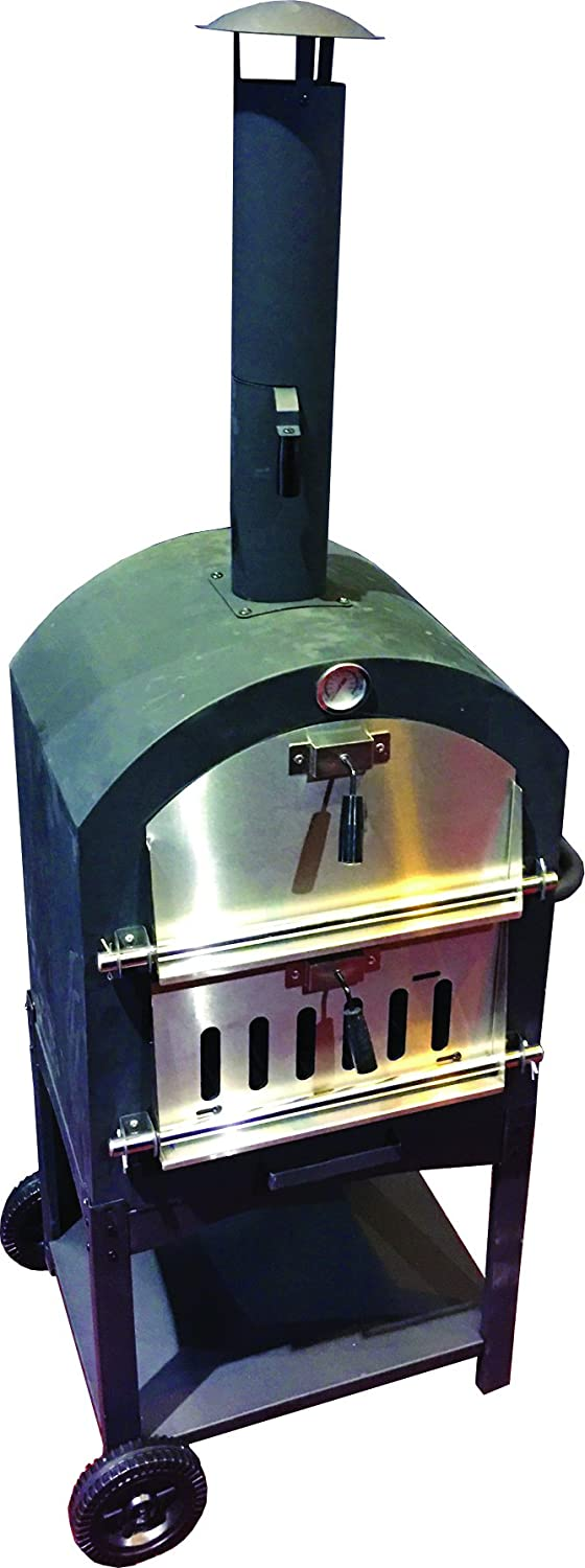 Harbor Gardens KUK002B Monterey Pizza Oven with Stone, Stainless/Enamel Coated Steel