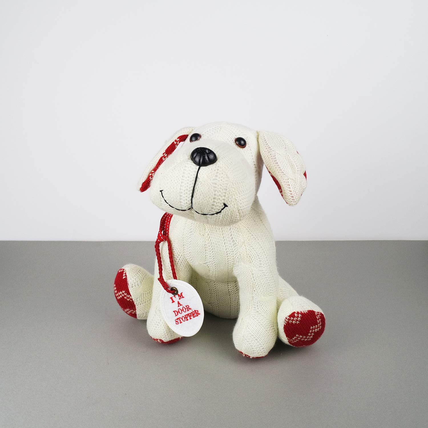 Stuffed Animal White Dog Door Stopper 1.73lb Home Decor Cable Knit Pattern by dwelling (Image #2)
