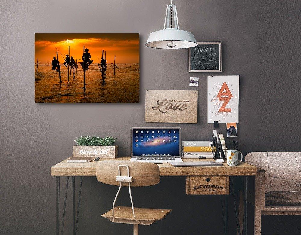 Stick Fisherman at Sunset 84918 24x36 SIGNED Print Master Art Print - Wall Decor Poster