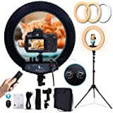 GLOUE 18 Inch Pro Ring Light Kit with Tripod Stand Phone Holder Ball Head Dimmable 3000-6000K Ringlight for Live Streaming Yo