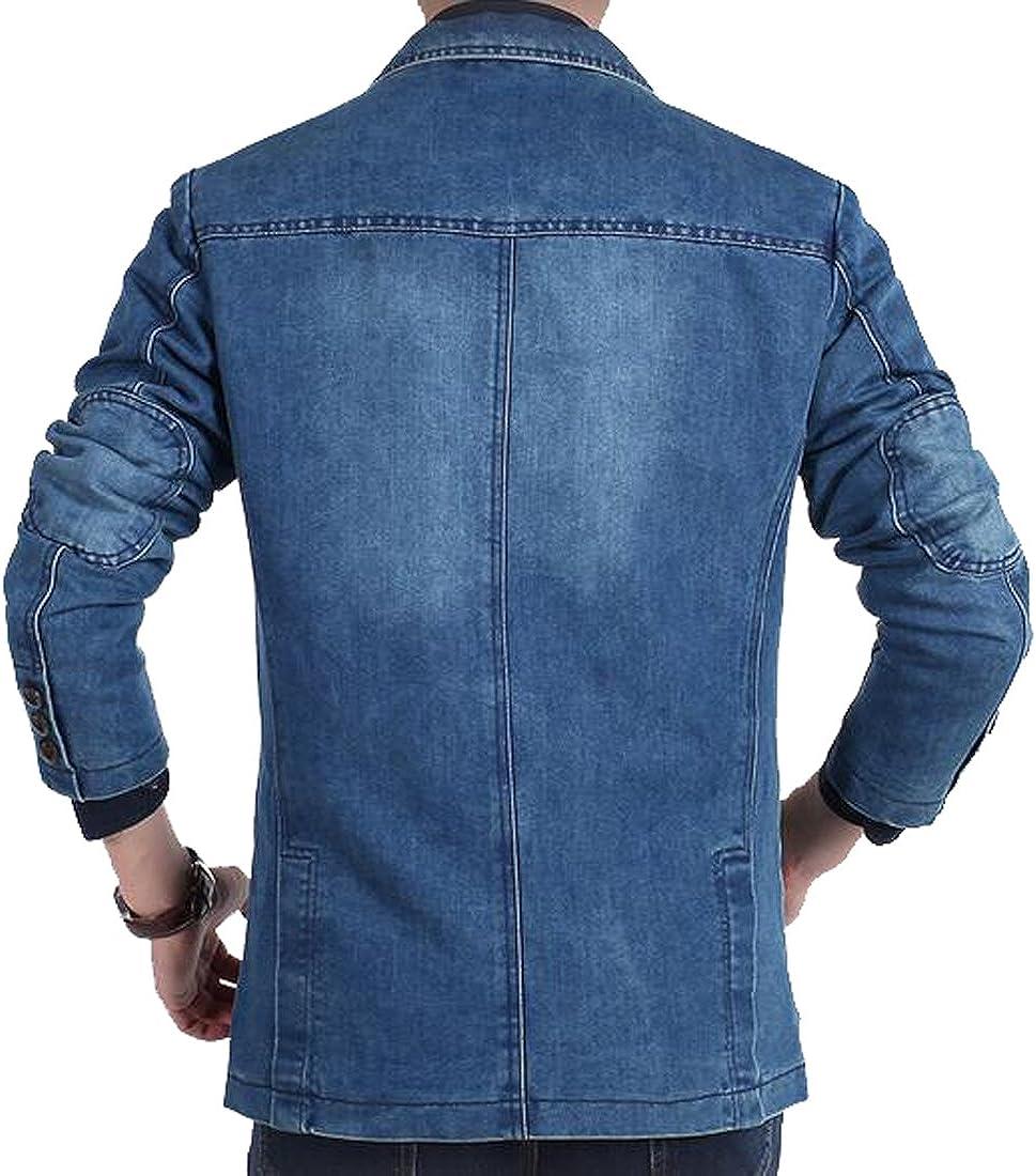 Fensajomon Mens Casual Business Washed Denim Blazer Jacket Suits Coat