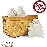 Cotton Drawstring Muslin Bags Linen Pouches Burlap Bags Souvenir Gift Bag Reusable Bags for Wedding Party Favor and DIY Craft 10 Pack (Medium(4.3x5.5 Inches))