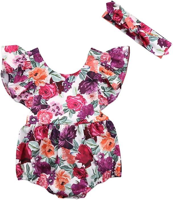 afed7c9ae7c0 Newborn Infant Baby Girls Floral Romper Bodysuit Sunsuit Jumpsuit Outfits  Clothes + Headband