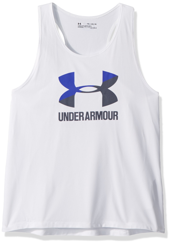 Under Armour Girls' Big Logo Slash Tank,White /Apollo Gray, Youth Large