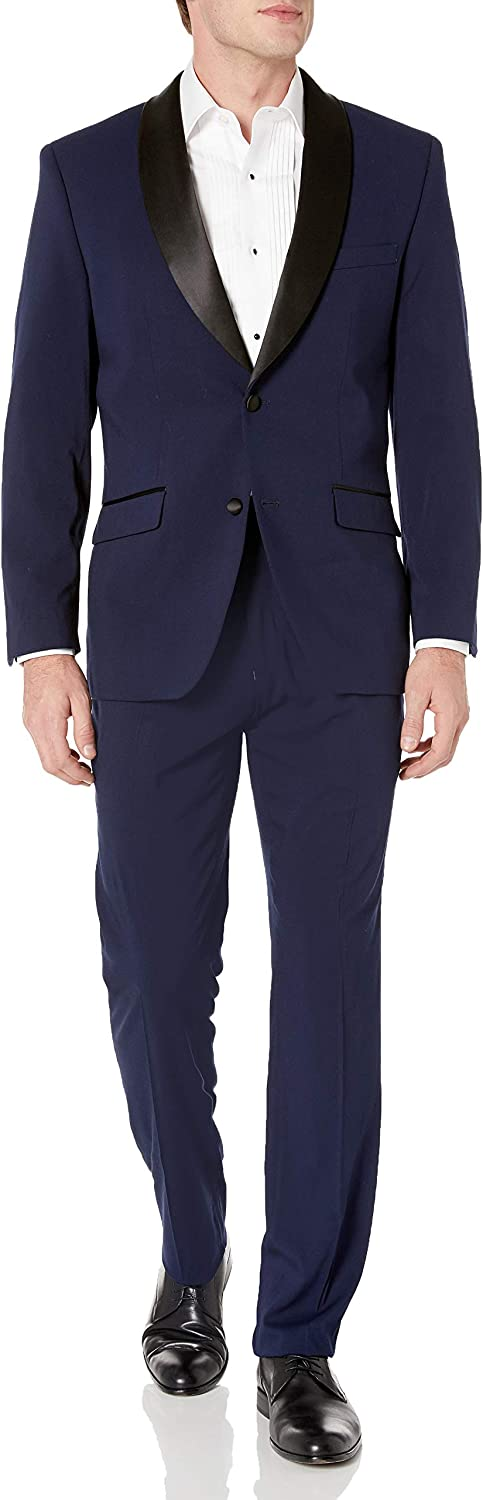 Perry Ellis Men's Slim Fit Stretch Wrinkle-Resistant Tuxedo