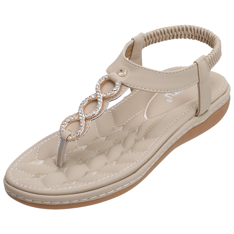SANMIO Damen Sandalen, Frauen Sandals Bohemian Strass Flach Sandaletten Sommer PU Leder Zehentrenner  41 EU|Beige-d