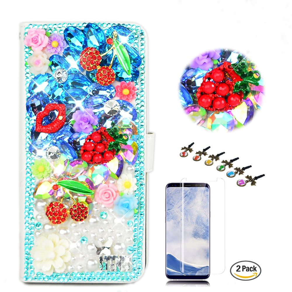 STENES LG G7 ThinQ Case - Stylish - 3D Handmade Crystal Cherry Pineapple Floral Lips Design Wallet Credit Card Slots Fold Media Stand Leather Cover with Screen Protector for LG G7 ThinQ - Blue