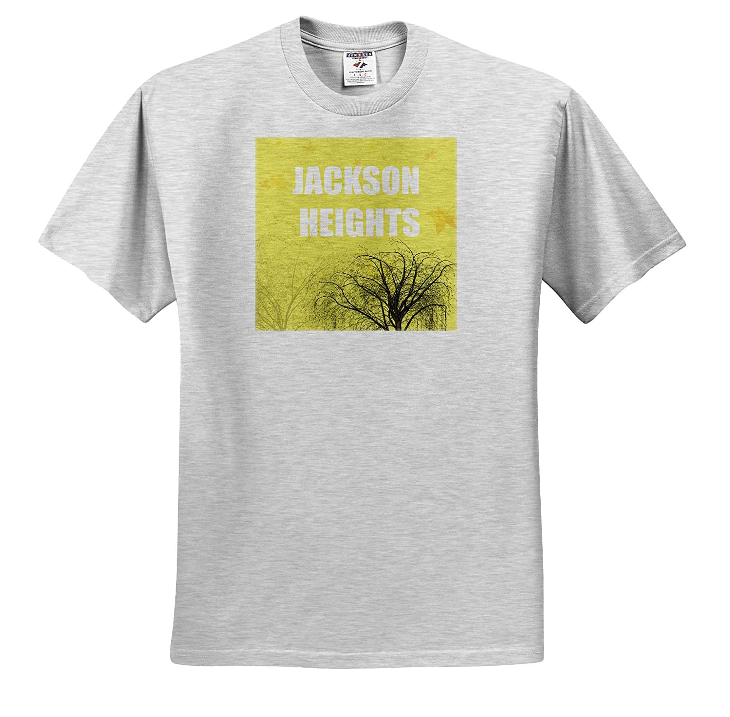 T-Shirts 3dRose Kike Calvo Jackson Heigths White Jackson Heights with Fall Trees and Yellow Background