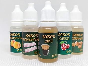 Liquido vapear,E-Liquid, (Pack-10) 5 x 10 Ml. 0,0 MG Nicotina, Líquido para Cigarro Electrónico PG (60%) /GV (40%), Sabores: Caramelo, Café, Marshmallow, Cereza y Melocotón.Liquido vaper.: Amazon.es: Salud y cuidado personal