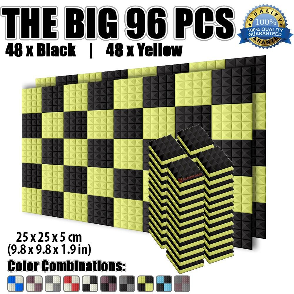 Dragon Dash 96 Pack of 9.8'' x 9.8'' x 1.9'' Inches Black and Yellow Acoustic Soundproofing Pyramid Foam Studio Treatment Wall Panel Tiles DD1034 (BLACK & YELLOW)