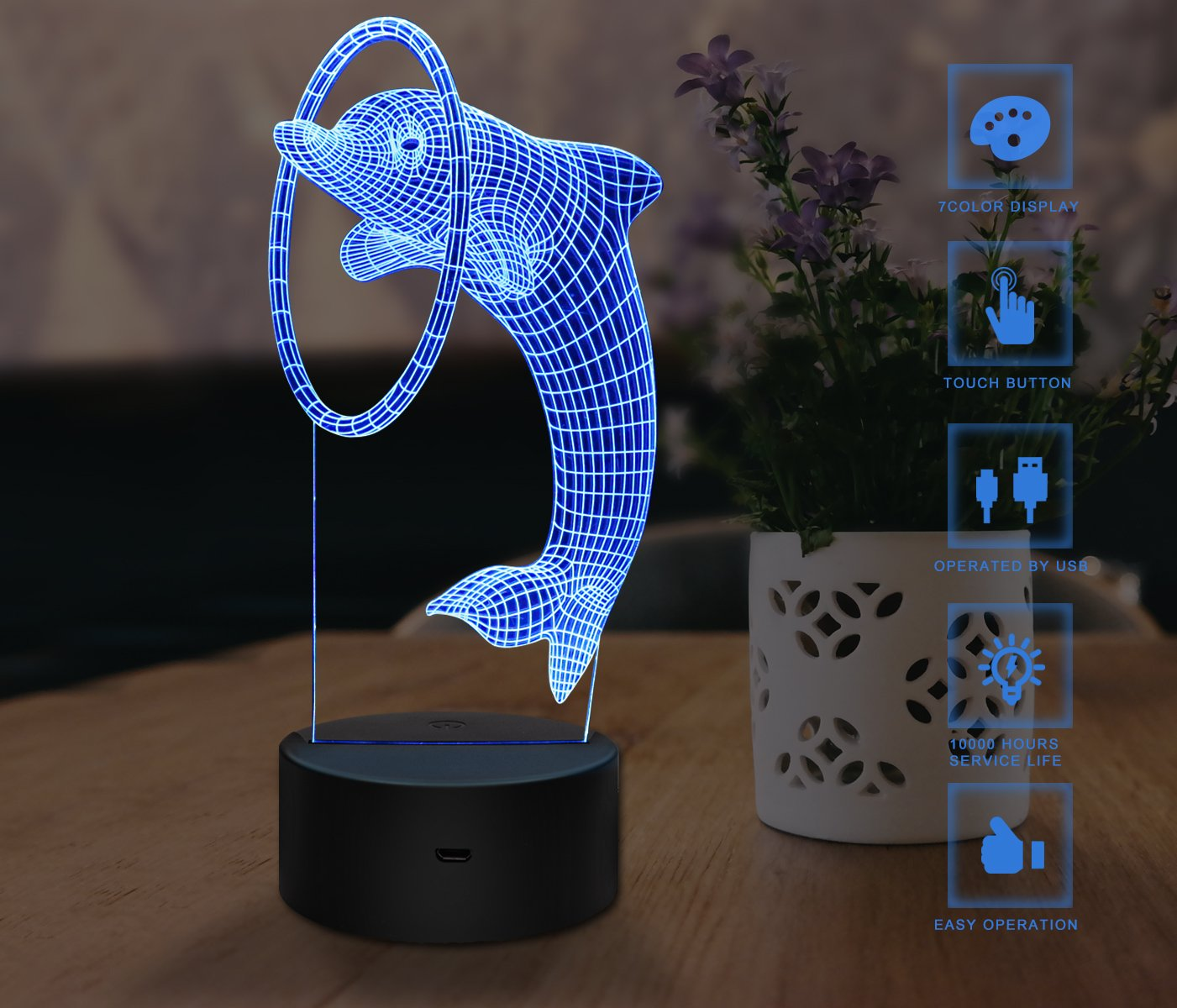3d Night Light Touch Led Lamp Decor Usb Powered 7 Colors Change