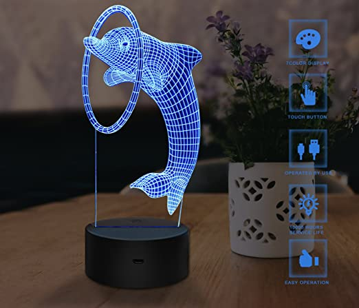 online store 6da54 c17a3 3D Night Light, Touch LED Lamp Decor, USB Powered 7 Colors Change Desk Lamp  Table Light with USB Cable for Room Decor, Best Christmas Gift for Kids