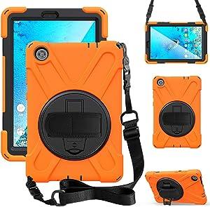ZenRich Case for Lenovo Tab M8 HD (2019), TB-8505F/TB-8505X Case with Kickstand Hand Strap and Shoulder Strap, zenrich Case for Lenovo Tab M8 8.0 inch HD (2nd Gen) 8.0 Inch Tablet,Orange