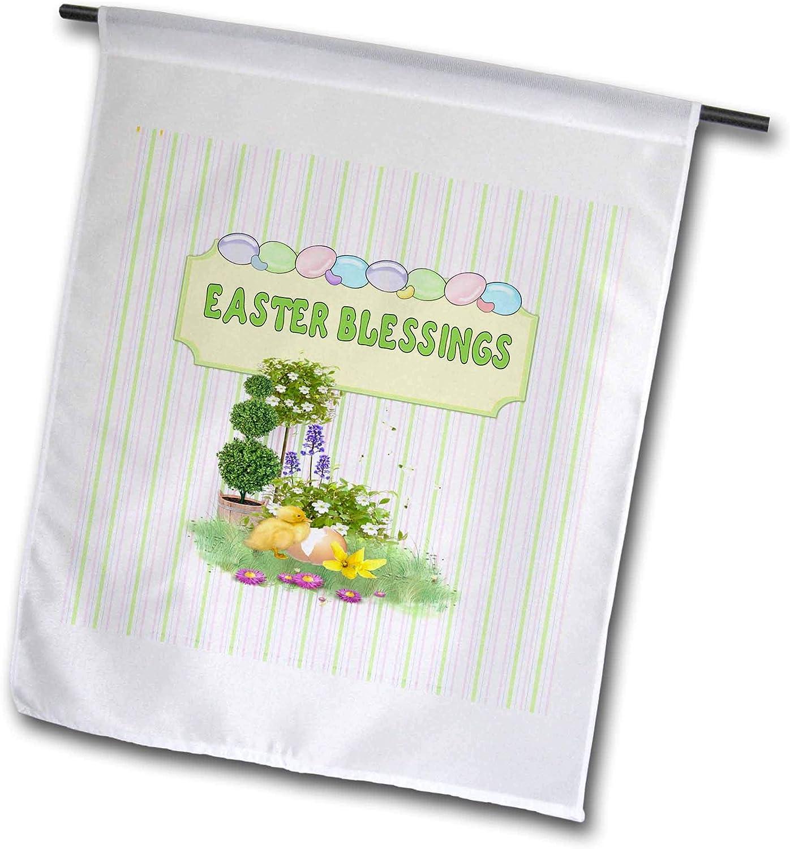 3dRose Image of Baby Duck in Flower Garden, Easter Blessings, Eggs, Pastel - Flags (fl_330841_2)
