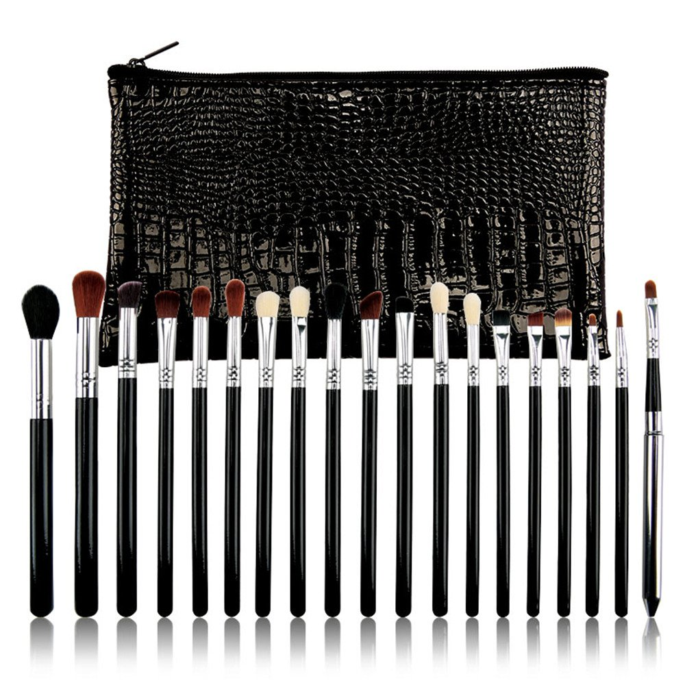 SEPROFE Make Up Eye Brush Set 19 Pieces Multifunctional Beauty Tools Eyeshadow Eyeliner Blending Lip Brush Crease Kit with CPU Cosmetic Bag Professional Make Up Sets Black