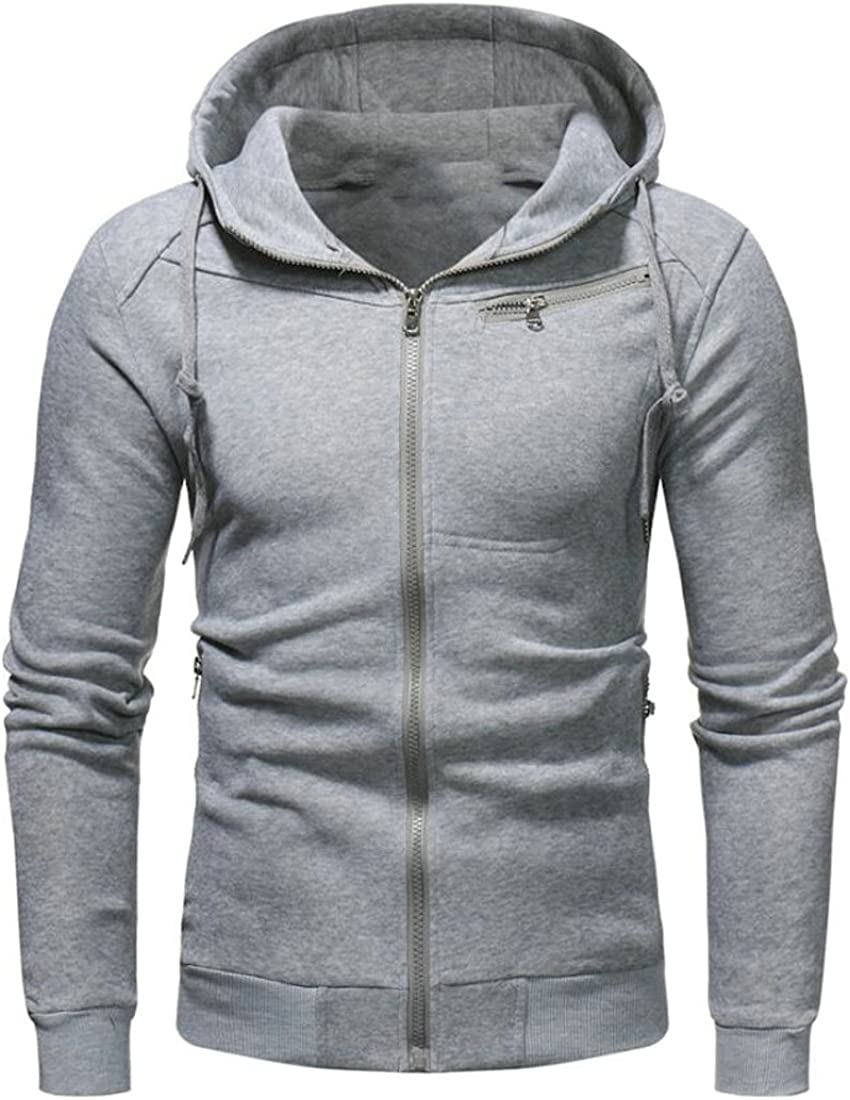 Hilization Mens Classic Long Sleeve Hooded Solid Color Zip-up Sweatshirt Jackets