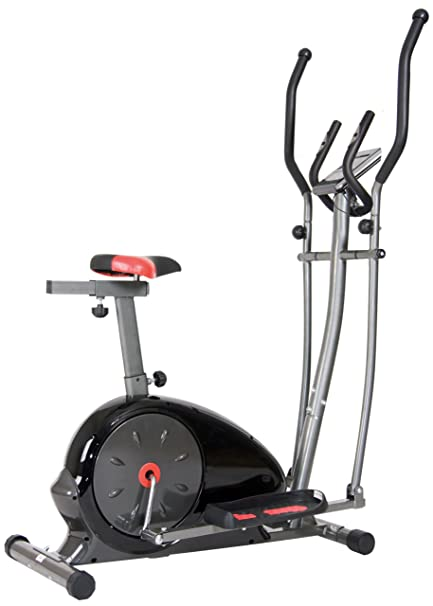 Body Champ 2 In 1 Magnetic Elliptical Workout And Upright Exercise Bike  With Heart Rate,