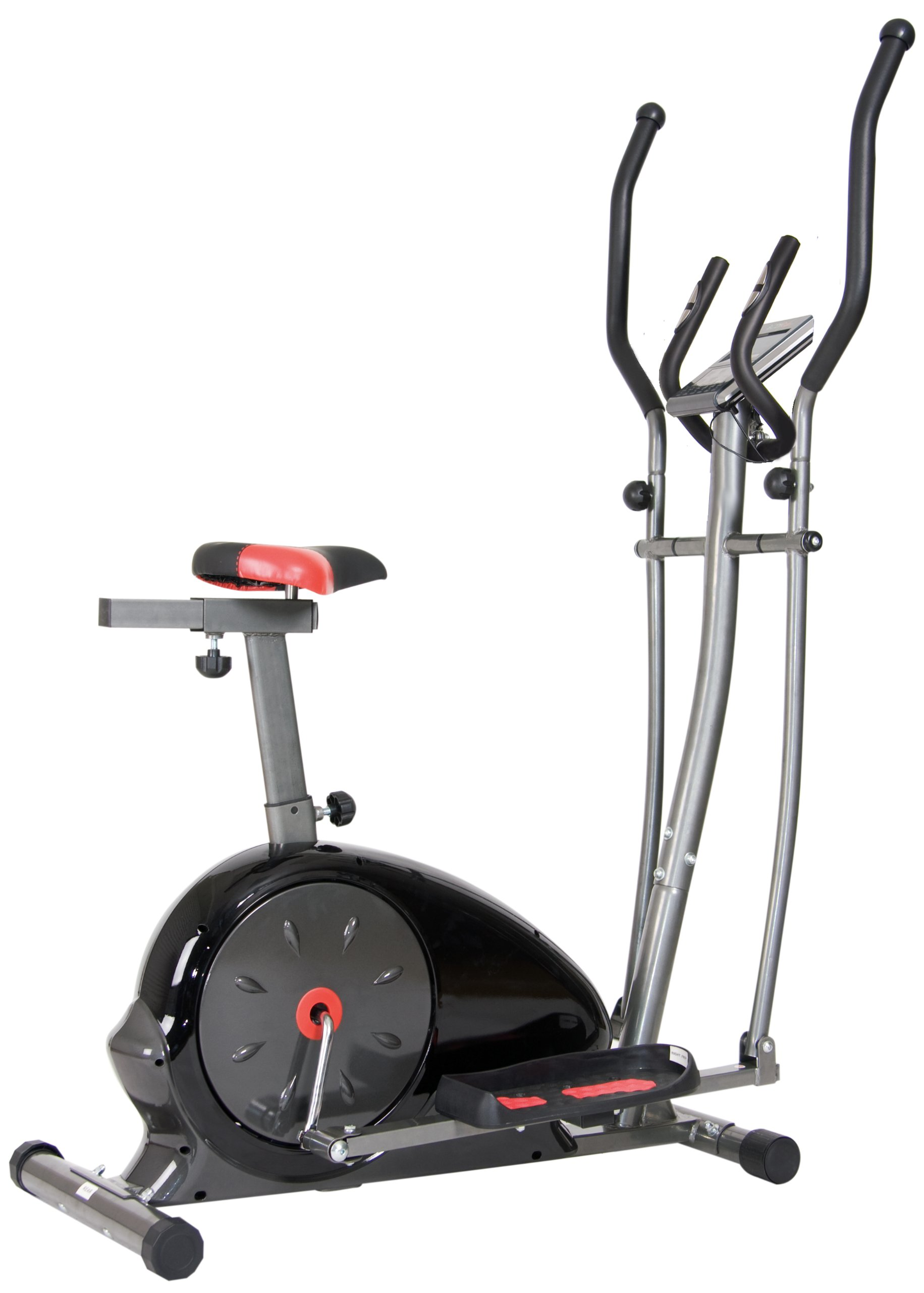 Body Champ 2 in 1 Magnetic Elliptical Workout and Upright Exercise Bike with Heart Rate, Computer Resistance Exercise Machine / Cardio Home Office Workout Machine
