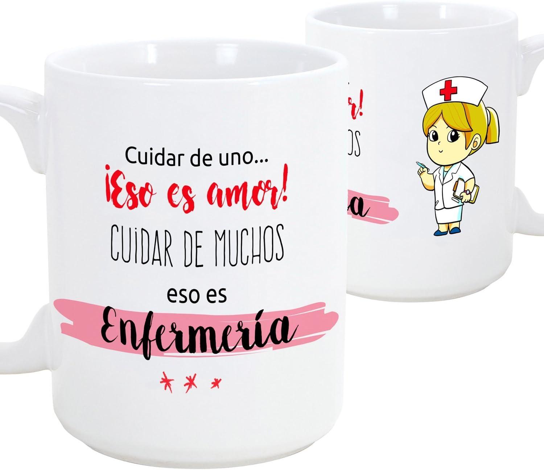 Taza de desayuno original para regalar a trabajadores profesionales - Regalo para enfermeras - Cuidar de uno eso es amor, cuidar de muchos eso es enfermería- Cerámica 350 ml (1 unidad)