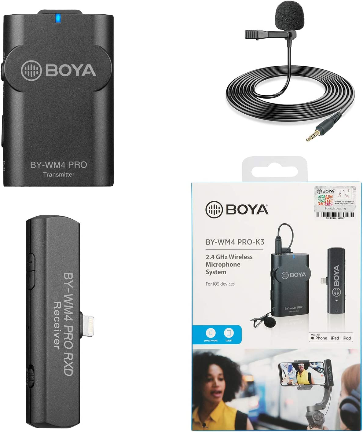 BOYA by-WM4 Pro Wireless Lavalier Microphone System with Lightning Connector Receiver for iPhone iPad iOS Podcast Facebook YouTube Live Stream Video Recording