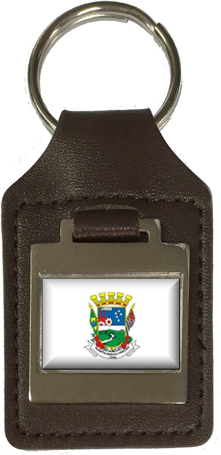 Leather Keyring Engraved Poa City Sao Paulo State Flag