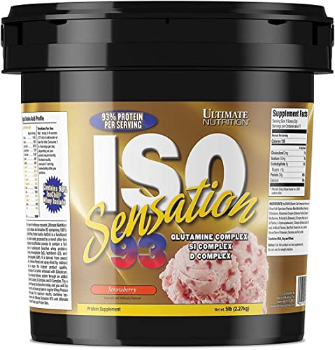 Ultimate Nutrition Iso Sensation 93 Fat Free Whey Protein Isolate Powder with Glutamine 30 Grams of Pure Protein, Low Carb, Keto Friendly, Strawberry, 5 Pounds