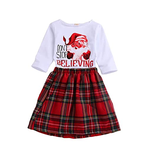 d17a7214a2 Toddler Baby Girls Christmas Outfit Long Sleeve Santa Clau's Printed Shirts  + Red Plaid Skirts Suits